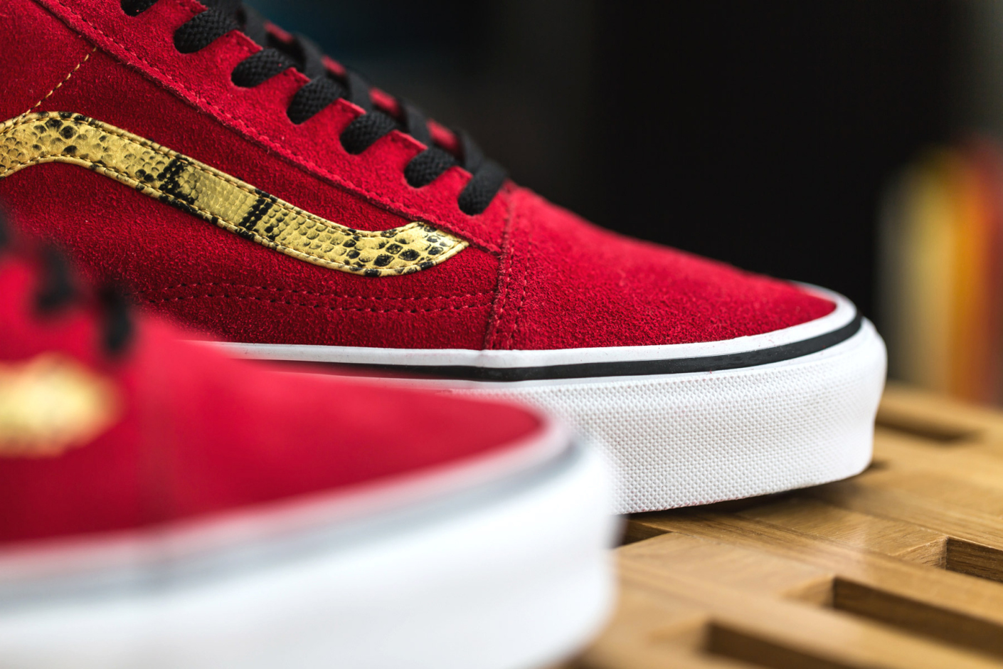 vans old skool red and gold