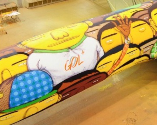 Os Gemeos Paints a Mural on a Boeing 737 for Brazil's World Cup Team