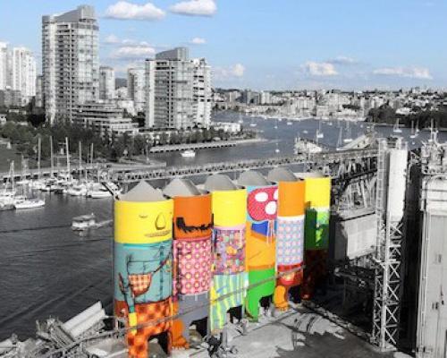 Vancouver Silos configured as canvas for Os Gemeos