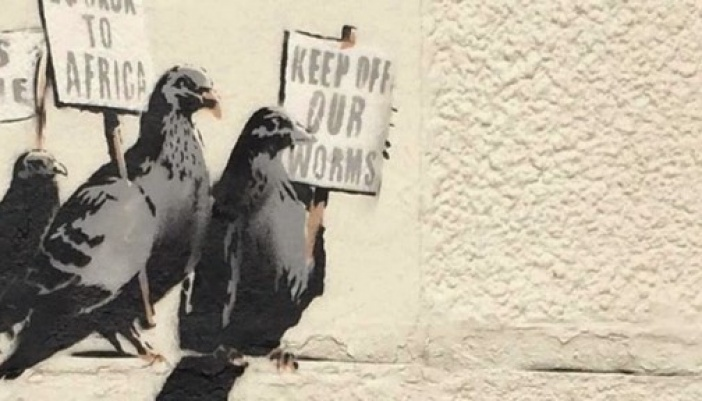 Banksy paints a new piece in Clacton-on-Sea, UK