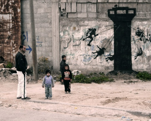 Banksy paints a new series of pieces in Gaza, Palestine