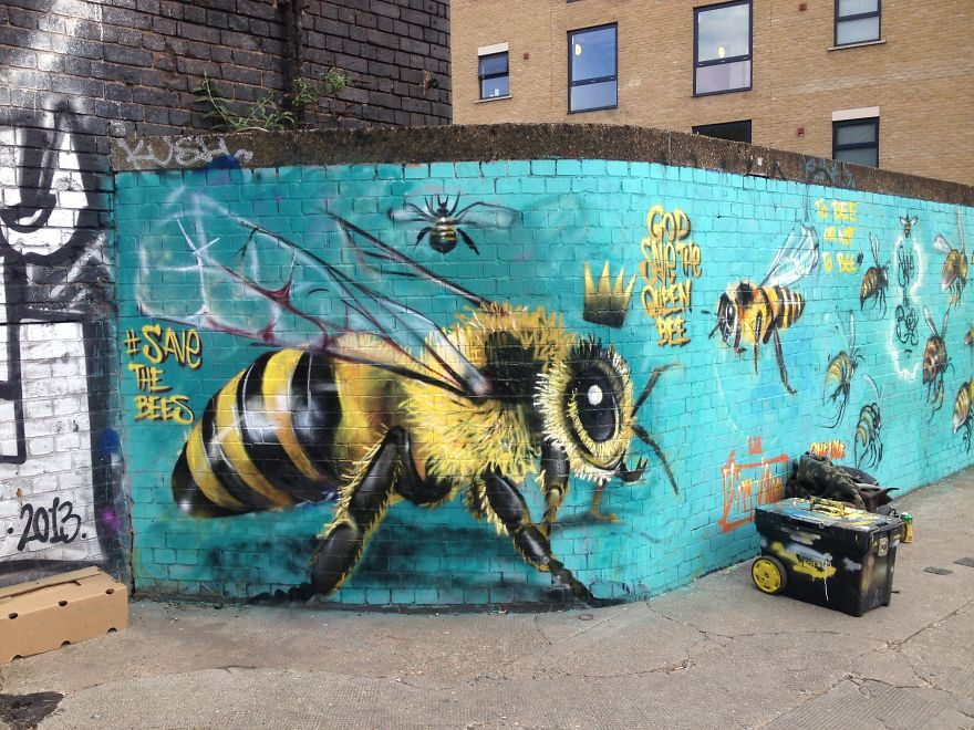 London Streets Painted With Bee Murals To Raise Awareness About Colony Collapse Disorder (6)