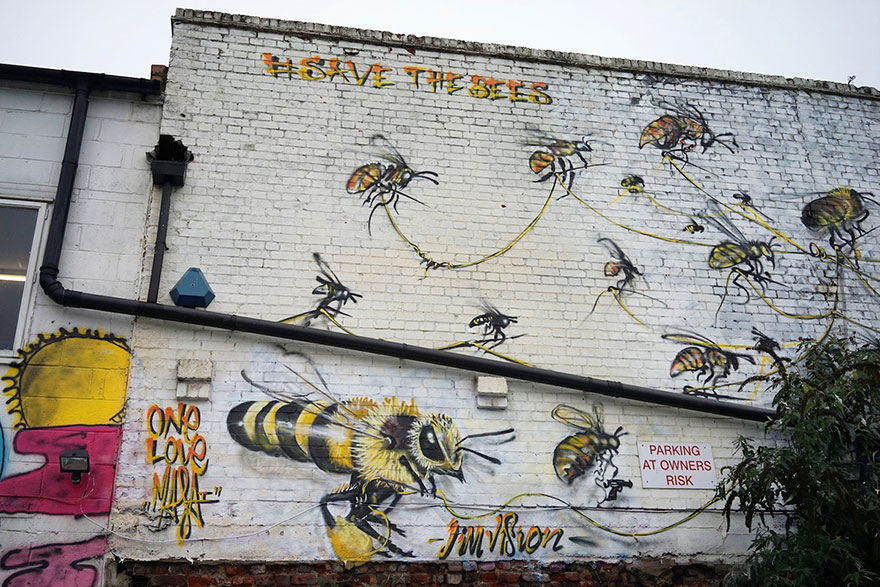 London Streets Painted With Bee Murals To Raise Awareness About Colony Collapse Disorder (8)