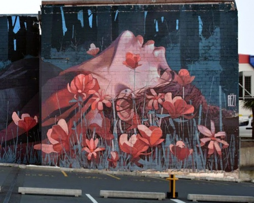 "BEZT paints ""When The Hunter Becomes The Hunted"" in Dunedin, New Zealand"