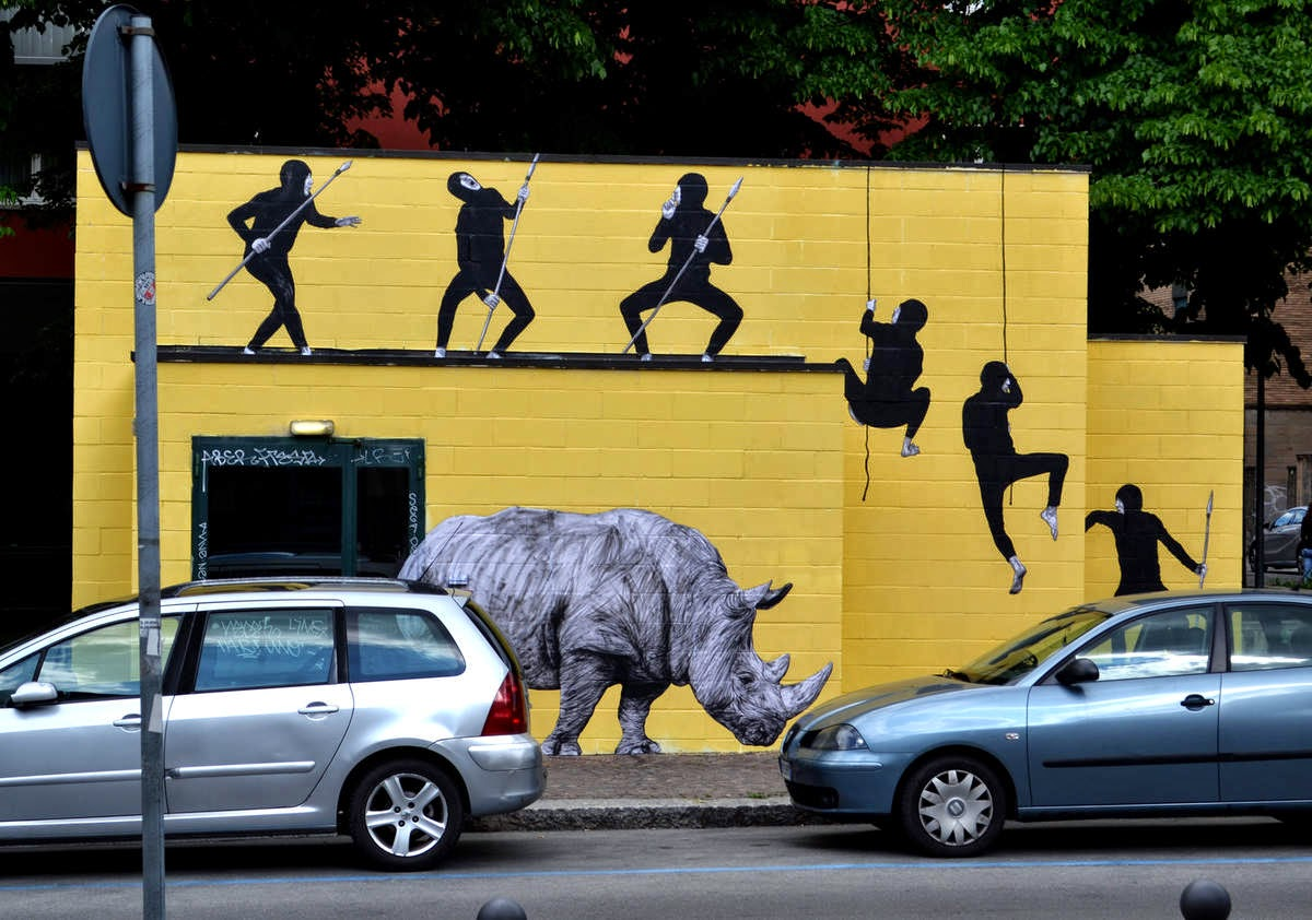 Levalet paints The Hunt in Bologna, Italy - the vandallist (2)