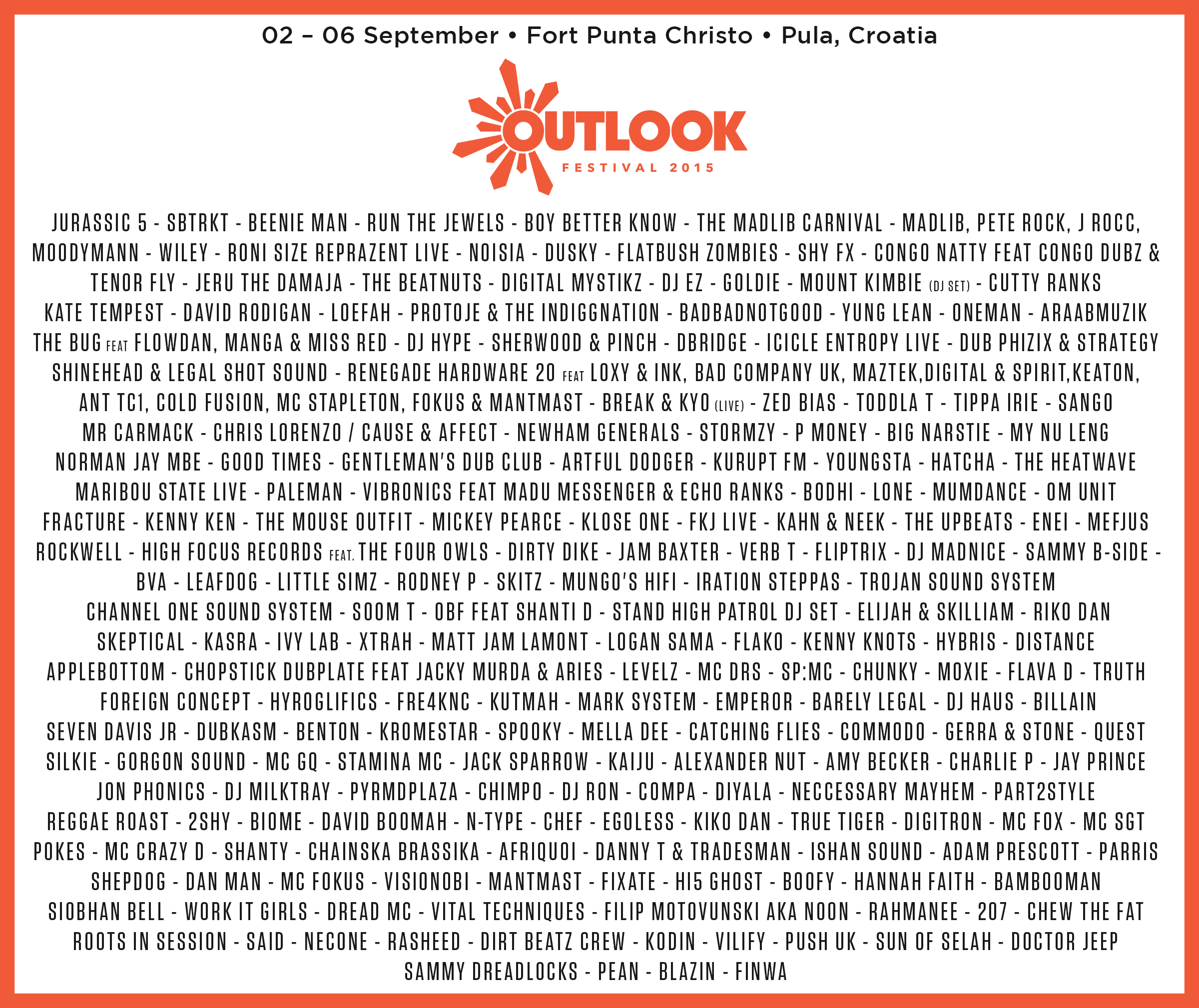 Outlook Festival 2015 - complete lineup flyer