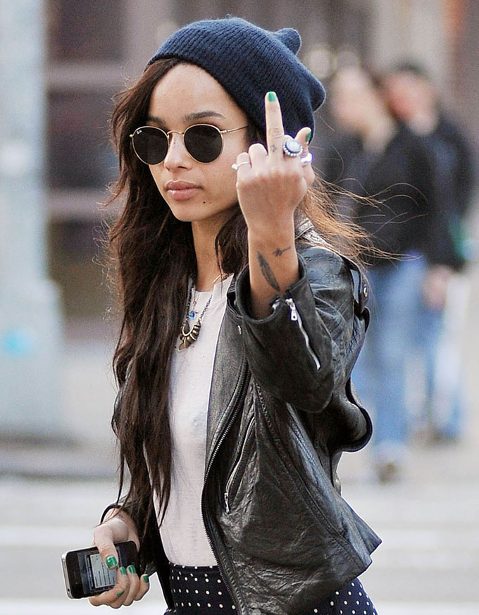 Zoe Kravitz flips the Bird while out in New York