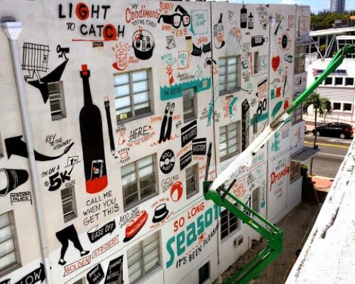 ESPO paints his latest piece on the streets of Miami, Florida