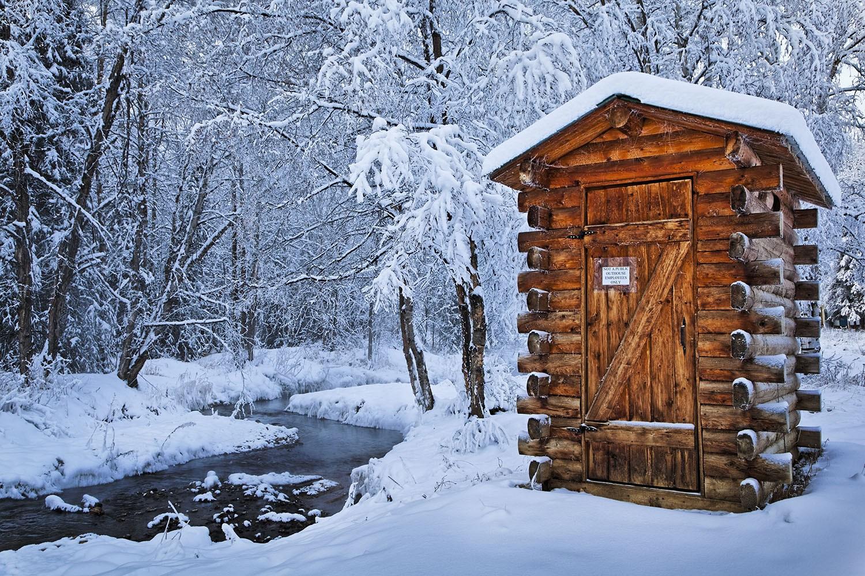 Hut in snow, Fairbanks, Alaska.