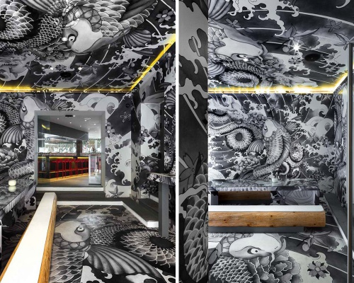 French Restaurant decorated with Japanese Tattoo Patterns