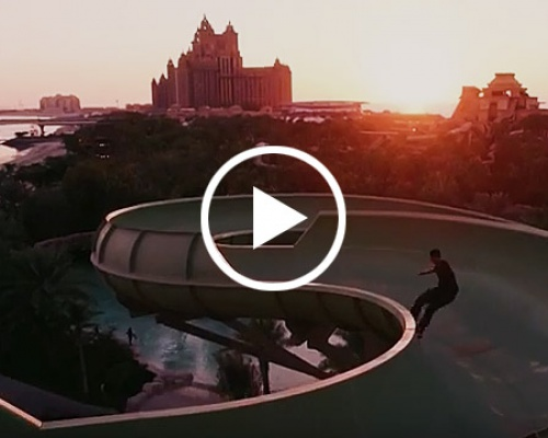 Shredding an Empty Waterpark Park in Dubai