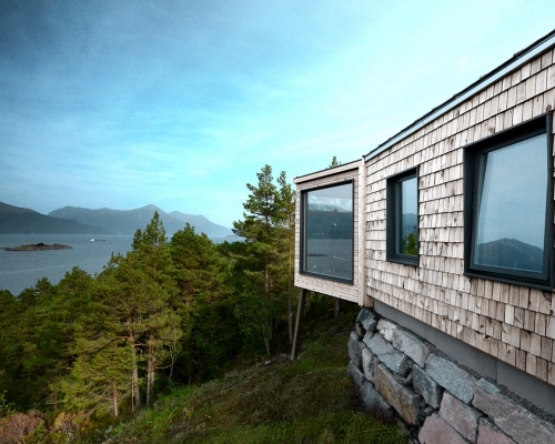 Views over a Norwegian fjord from CABIN STRAUMSNES