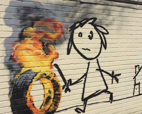 BANKSY returns to Bridge Farm primary School in BRISTOL