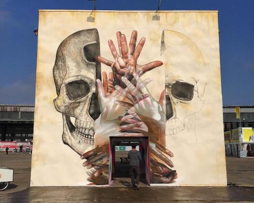 Black brushstrokes on new murals by ALEXIS DIAZ