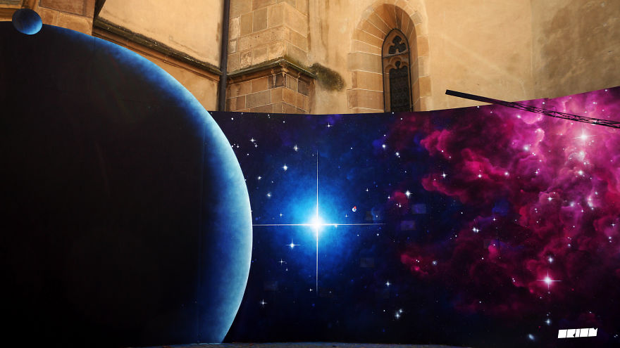 Panoramic mural celebrating Voyager 1's 39th anniversary
