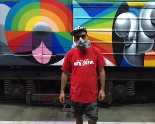 "Okuda San Miguel's ""5-Car Train"" in Kiev, Ukraine"