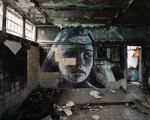 Expressive Murals Of Young Women On Crumbling Walls – by RONE