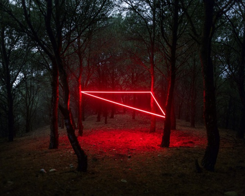 Geometric light installations by Nicolas Rivals in Spain
