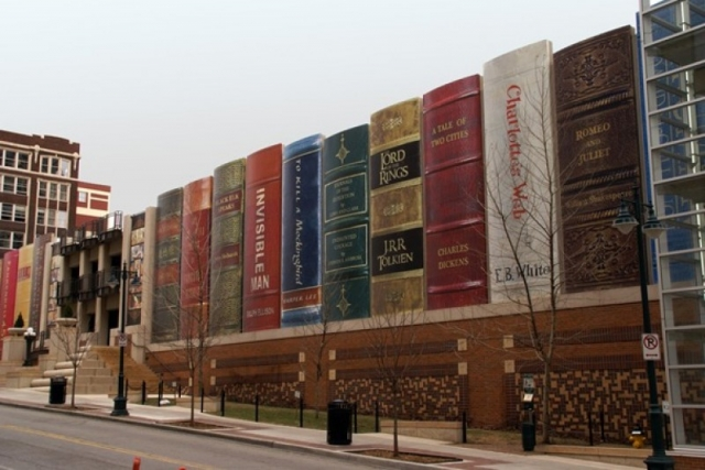 Kansas City Public Library - This installation is permanent, on a much larger scale, and is designed to conceal the library's car park. Here the public were asked to nominate books that they felt represented Kansas City.