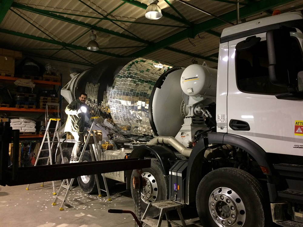 Disco ball cement truck - by Benedetto Bufalino