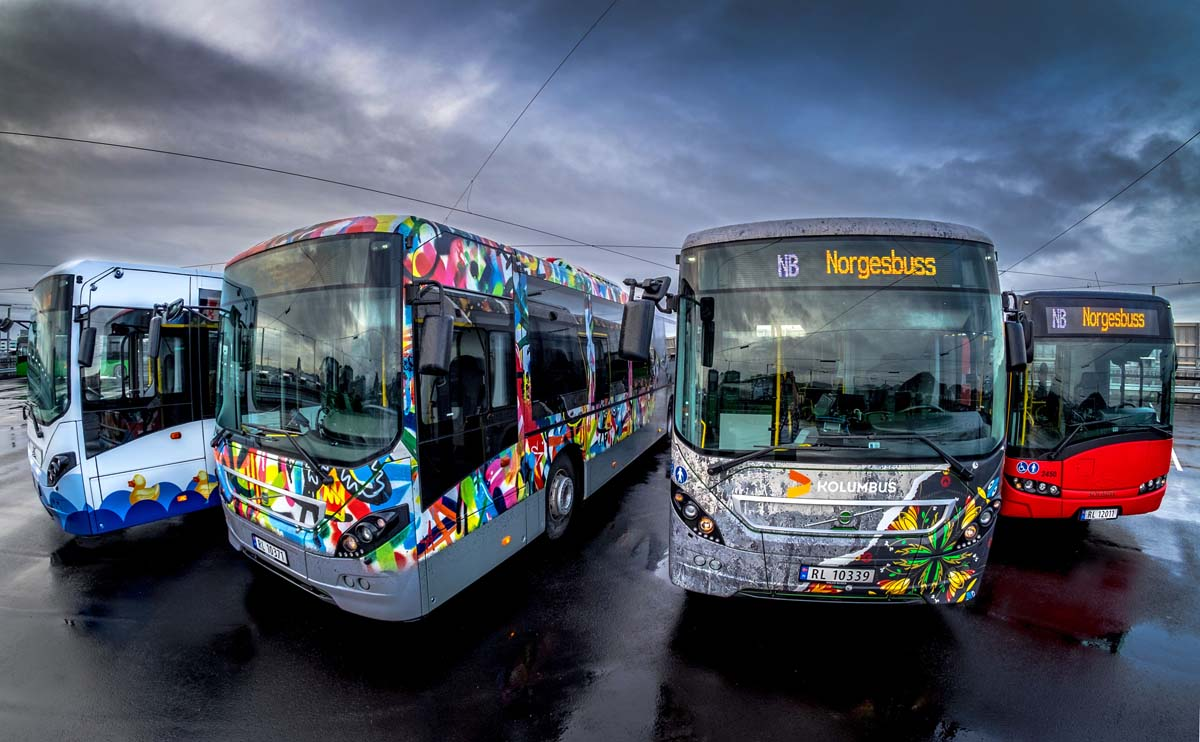 The colorful buses of Stavanger, Norway