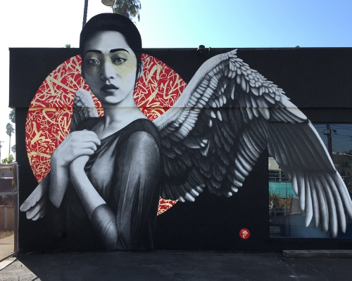 "Fin DAC's latest piece ""Resurrection of Angels"" in L.A."