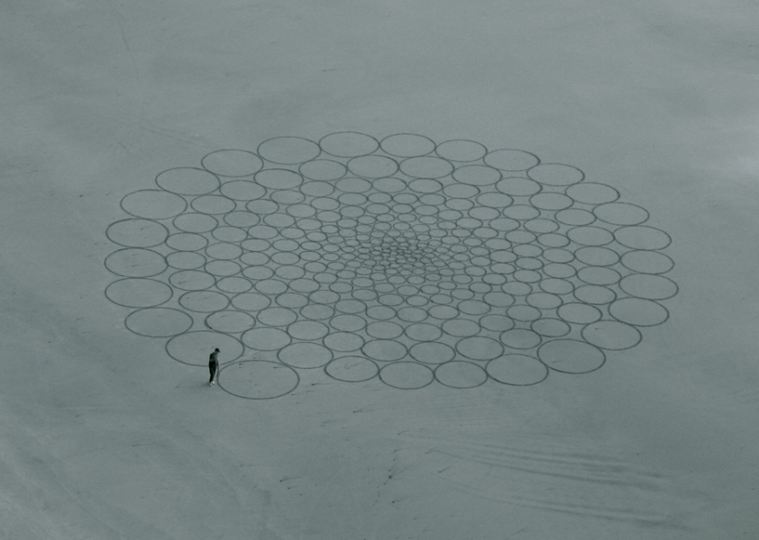 Temporary drawings erased by weather - by Jim Denevan