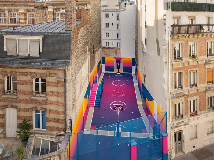 Days in technicolor - check out the Paris Duperré basketball court