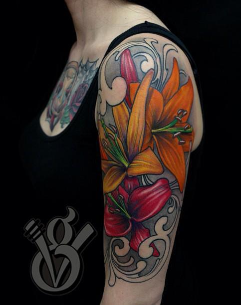 Lilies Arm Sleeve Tattoo Girl Woman Female Flower Color Tattoos Jon