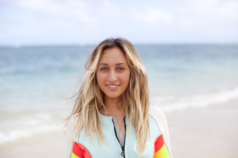 FRANKIE HARRER and her surfing skills