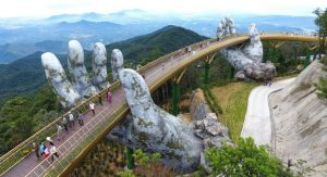 Golden bridge on Ba Na Hills, Da Nang, Vietnam